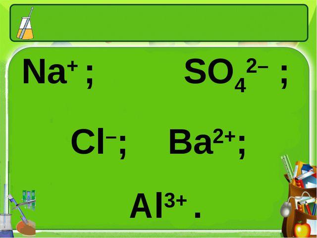 Na+ ; SO42– ; Cl–; Ba2+; Al3+ .