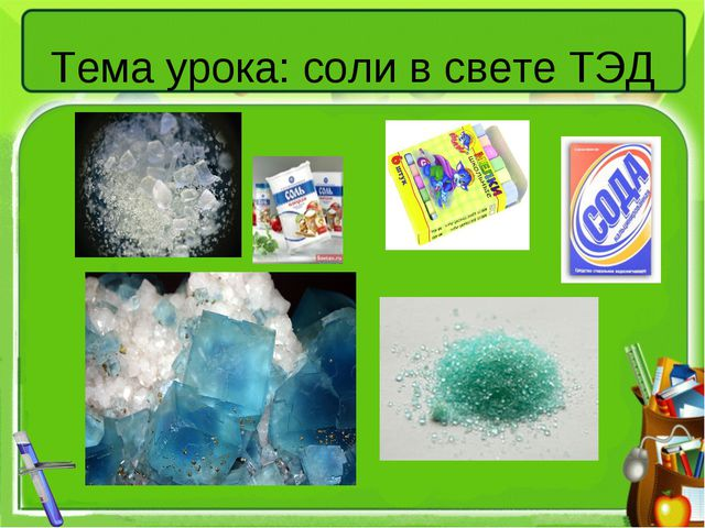 Тема урока: соли в свете ТЭД