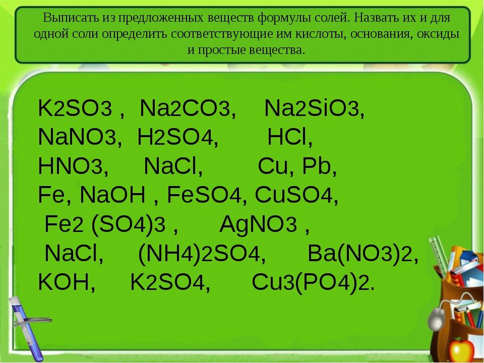 Выписать из предложенных веществ формулы солей. Назвать их и для одной соли о...
