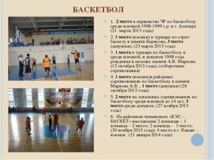 БАСКЕТБОЛ 1. 2 место в первенстве ЧР по баскетболу среди юношей 1998-1999 г.р