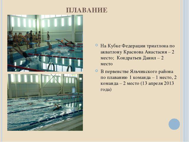 ПЛАВАНИЕ На Кубке Федерации триатлона по акватлону Краснова Анастасия – 2 мес...