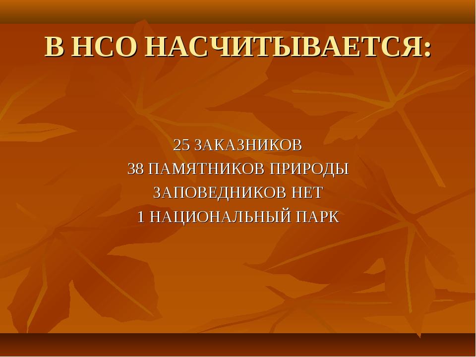 В НСО НАСЧИТЫВАЕТСЯ: 25 ЗАКАЗНИКОВ 38 ПАМЯТНИКОВ ПРИРОДЫ ЗАПОВЕДНИКОВ НЕТ 1 Н...