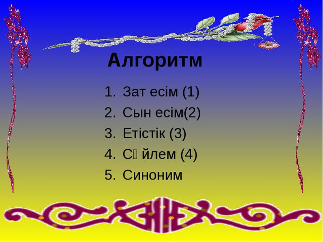 Алгоритм Зат есім (1) Сын есім(2) Етістік (3) Сөйлем (4) Синоним