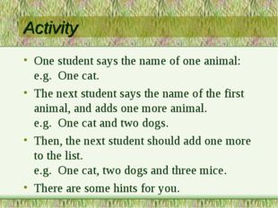 Activity One student says the name of one animal: e.g. One cat. The next stud