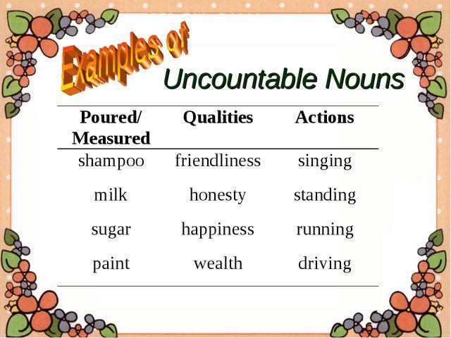 Uncountable Nouns