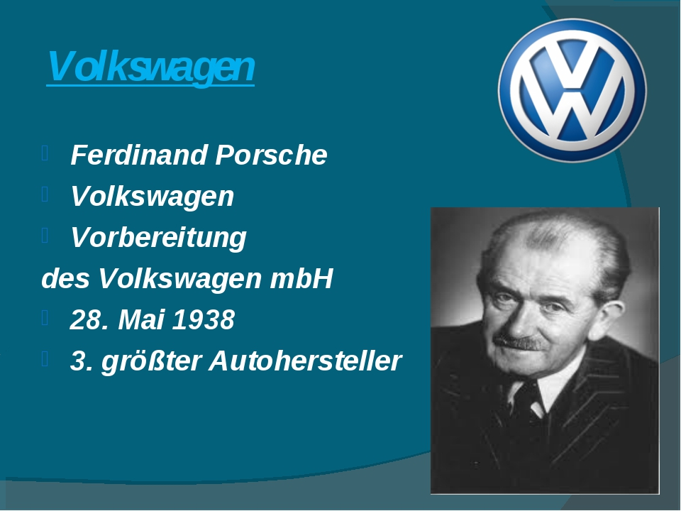 Volkswagen Ferdinand Porsche Volkswagen Vorbereitung des Volkswagen mbH 28. M...