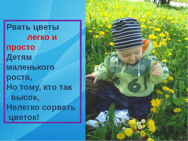 Рвать цветы легко и просто Детям маленького роста, Но тому, кто так высок, Не...