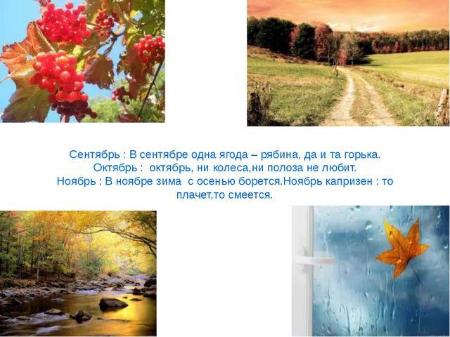 Сентябрь : В сентябре одна ягода – рябина, да и та горька. Октябрь : октябрь,...