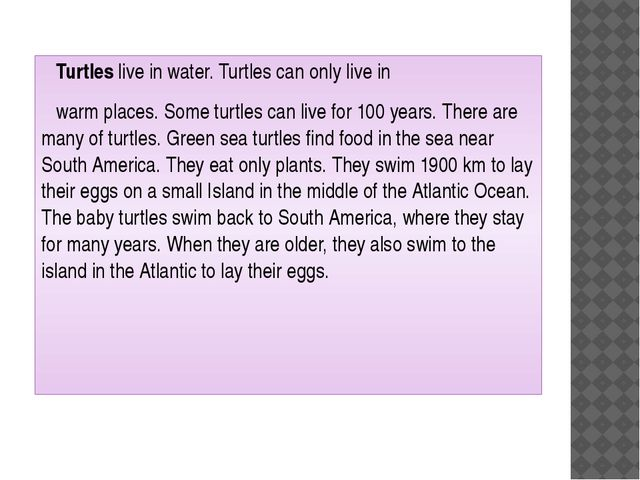 Turtles live in water. Turtles can only live in warm places. Some turtles ca...