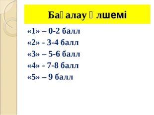 Бағалау өлшемі «1» – 0-2 балл «2» - 3-4 балл «3» – 5-6 балл «4» - 7-8 балл «5