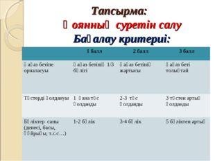 Тапсырма: Қоянның суретін салу Бағалау критериі: 1 балл2 балл3 балл Қағаз