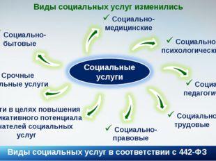 Виды социальных услуг в соответствии с 442-ФЗ * Виды социальных услуг изменил