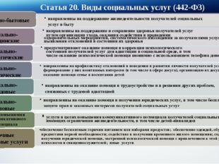 Статья 20. Виды социальных услуг (442-ФЗ) направленны на поддержание жизнедея