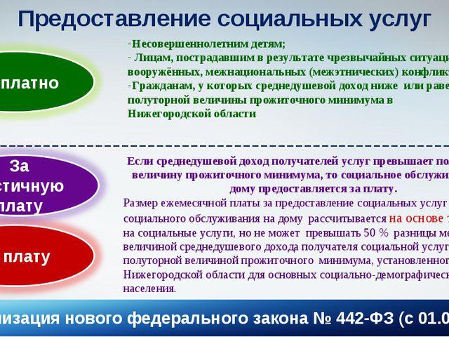 * Предоставление социальных услуг Несовершеннолетним детям; Лицам, пострадавш...