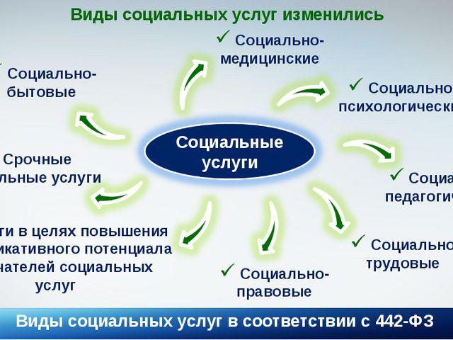 Виды социальных услуг в соответствии с 442-ФЗ * Виды социальных услуг изменил...