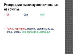 Распредели имена существительные на группы. Он Она Оно Тополь, картофель, мор
