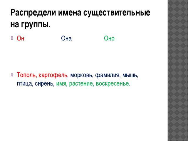 Распредели имена существительные на группы. Он Она Оно Тополь, картофель, мор...