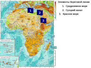 Элементы береговой линии Средиземное море Суэцкий канал 2 3 1 3. Красное море