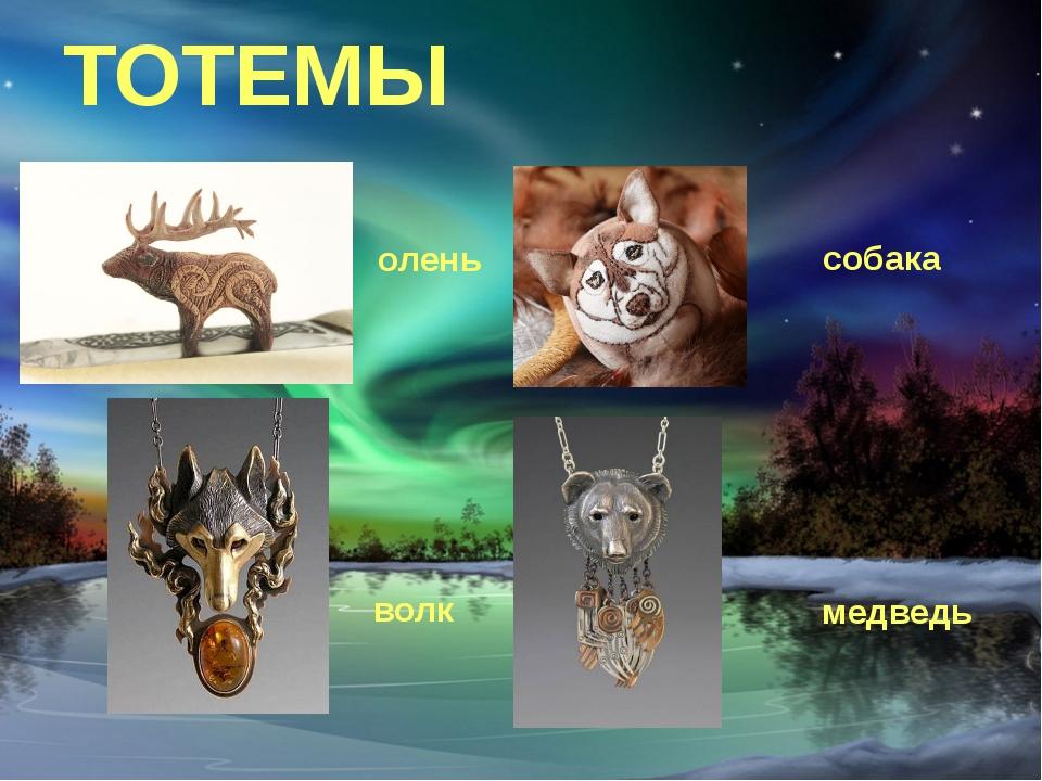 ТОТЕМЫ олень волк собака медведь