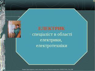ЕЛЕКТРИК спеціаліст в області електрики, електротехніки Лазарева Лидия Андрее