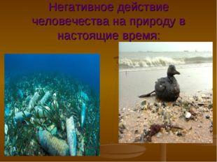 Негативное действие человечества на природу в настоящие время: