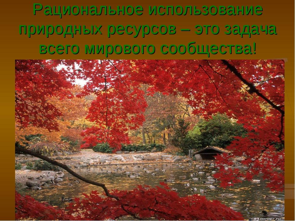 Рациональное использование природных ресурсов – это задача всего мирового соо...