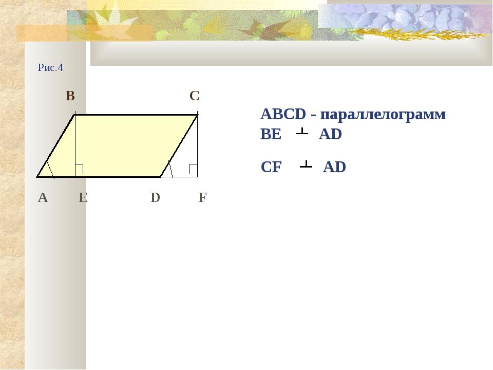 Рис.4 В С ABCD - параллелограмм ВЕ AD CF AD А Е D F