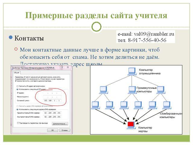 Примерные разделы сайта учителя Контакты Мои контактные данные лучше в форме...