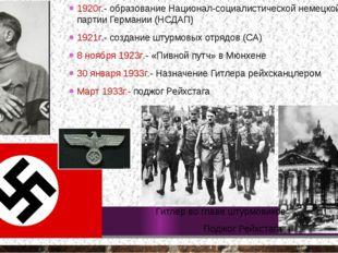 Поджог Рейхстага 1920г.- образование Национал-социалистической немецкой рабоч