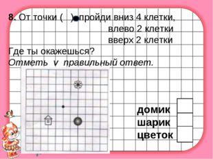 8. От точки ( ) пройди вниз 4 клетки, влево 2 клетки вверх 2 клетки Где ты ок