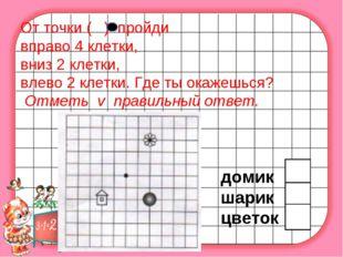 От точки ( ) пройди вправо 4 клетки, вниз 2 клетки, влево 2 клетки. Где ты о