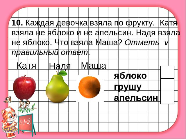 10. Каждая девочка взяла по фрукту. Катя взяла не яблоко и не апельсин. Надя...