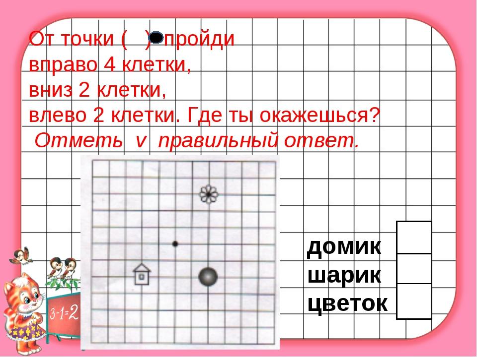 От точки ( ) пройди вправо 4 клетки, вниз 2 клетки, влево 2 клетки. Где ты о...