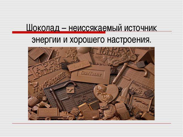 Шоколад – неиссякаемый источник энергии и хорошего настроения.