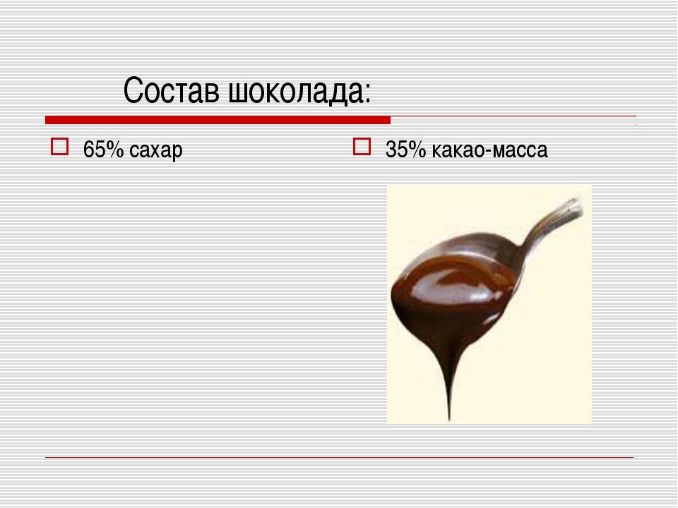 Состав шоколада: 65% сахар 35% какао-масса