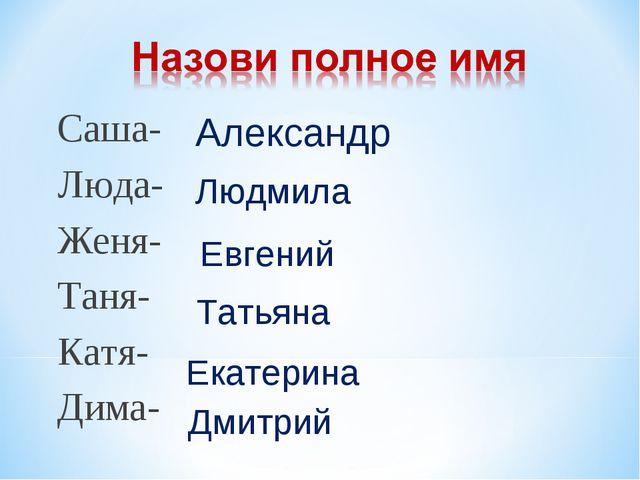 Саша- Люда- Женя- Таня- Катя- Дима- Александр Людмила Евгений Татьяна Екатери...
