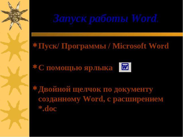 Запуск работы Word. Пуск/ Программы / Microsoft Word С помощью ярлыка Двойной...