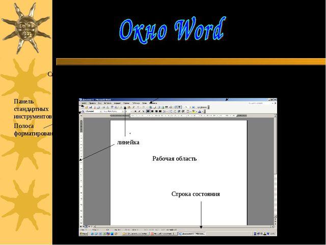 Системное меню приложения Системное меню документа Строка заголовка документа...
