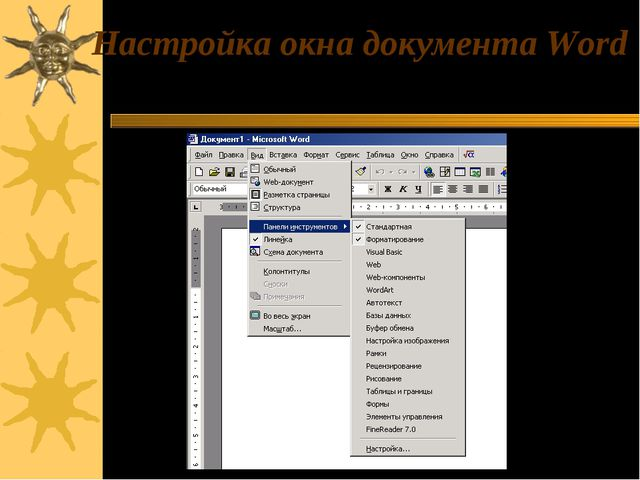 Настройка окна документа Word Вид / Панель инструментов