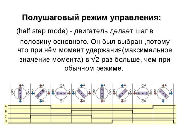 Полушаговый режим управления: (half step mode) - двигатель делает шаг в пол...