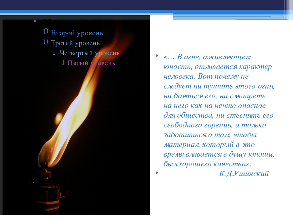 «… В огне, оживляющем юность, отливается характер человека. Вот почему не сле...