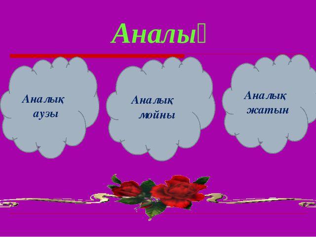 Аналық Аналық аузы Аналық мойны Аналық жатын