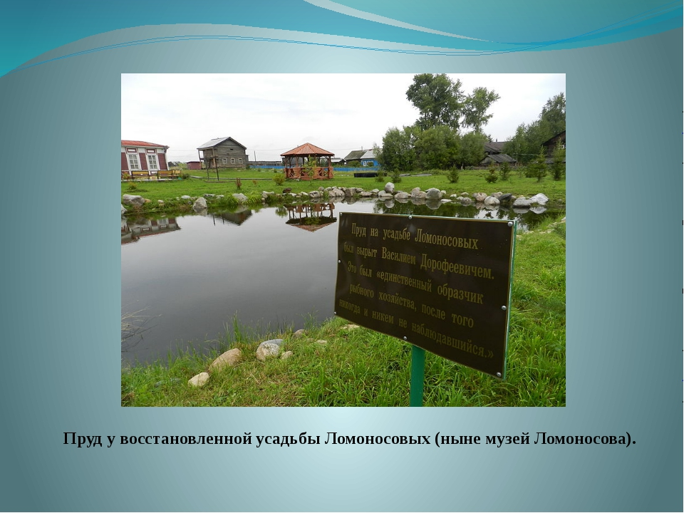 Пруд у восстановленной усадьбы Ломоносовых (ныне музей Ломоносова).