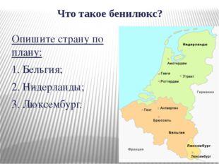 Что такое бенилюкс? Опишите страну по плану: 1. Бельгия; 2. Нидерланды; 3. Лю