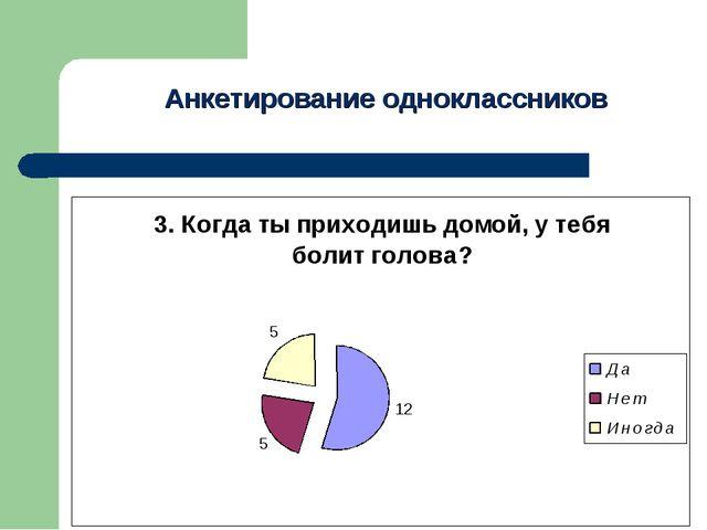 Анкетирование одноклассников