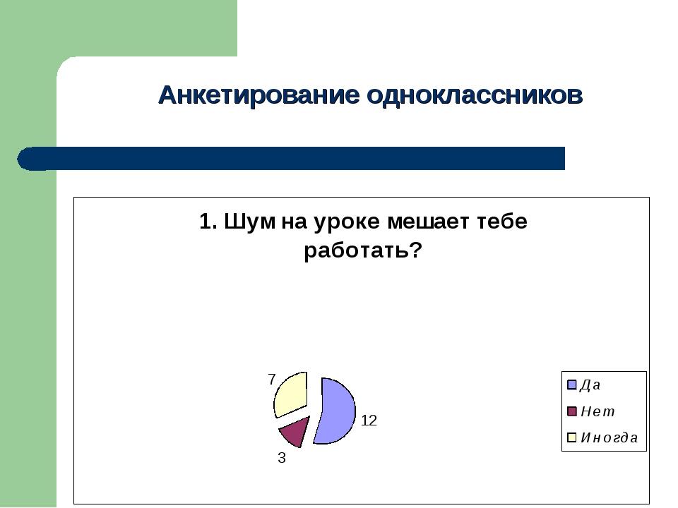 Анкетирование одноклассников Анкета