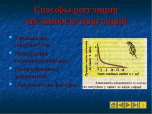 Способы регуляции численности популяций Уменьшение плодовитости Конкуренция (