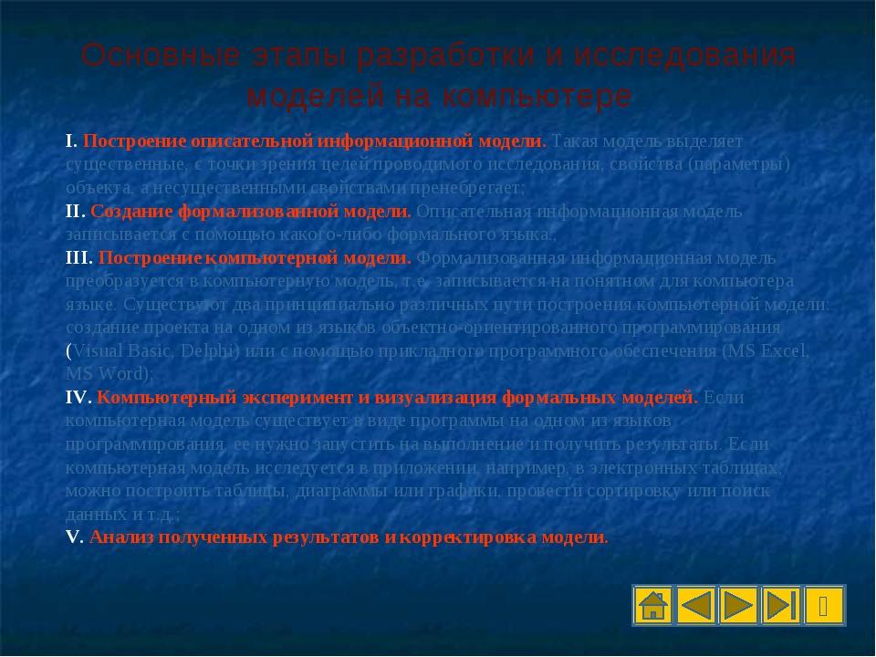 Основные этапы разработки и исследования моделей на компьютере I. Построение...