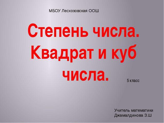 5 класс Степень числа. Квадрат и куб числа. МБОУ Лесхозовская ООШ Учитель ма...