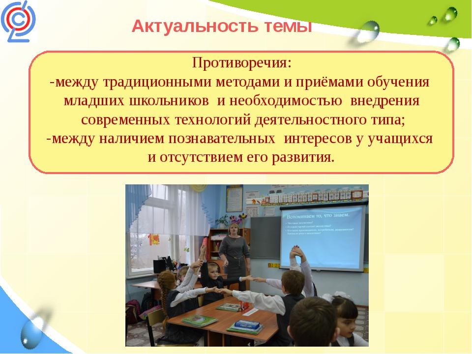 Актуальность темы Противоречия: -между традиционными методами и приёмами обуч...